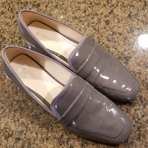 Nine West Gray Patent Loafers with Clear Heels